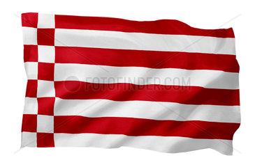 Landesfahne von Bremen (Motiv A; mit natuerlichem Faltenwurf und realistischer Stoffstruktur)