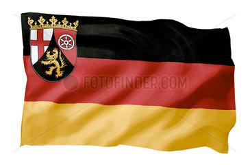 Landesfahne von Rheinland-Pfalz (Motiv A; mit natuerlichem Faltenwurf und realistischer Stoffstruktur)