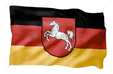 Landesfahne von Niedersachsen (Motiv A; mit natuerlichem Faltenwurf und realistischer Stoffstruktur)