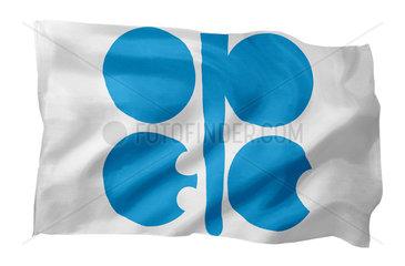 Fahne der OPEC (Motiv A; mit natuerlichem Faltenwurf und realistischer Stoffstruktur)