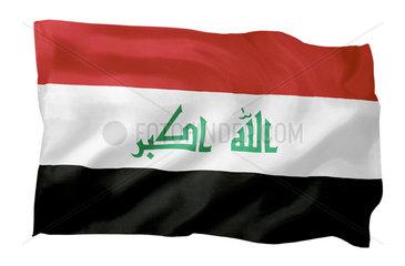 Fahne des Irak (Motiv A; mit natuerlichem Faltenwurf und realistischer Stoffstruktur)