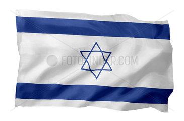 Fahne von Israel (Motiv A; mit natuerlichem Faltenwurf und realistischer Stoffstruktur)