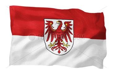 Landesfahne von Brandenburg (Motiv A; mit natuerlichem Faltenwurf und realistischer Stoffstruktur)