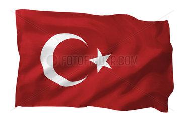 Fahne der Tuerkei (Motiv A; mit natuerlichem Faltenwurf und realistischer Stoffstruktur)