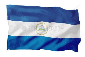 Fahne von Nicaragua (Motiv B; mit natuerlichem Faltenwurf und realistischer Stoffstruktur)