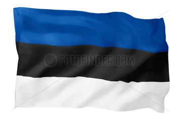 Fahne von Estland (Motiv B; mit natuerlichem Faltenwurf und realistischer Stoffstruktur)