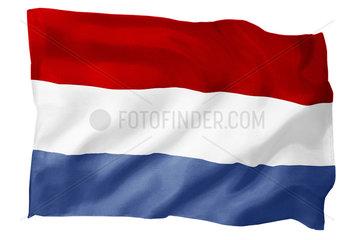 Fahne der Niederlande (Motiv B; mit natuerlichem Faltenwurf und realistischer Stoffstruktur)