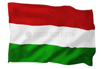 Fahne von Ungarn (Motiv B; mit natuerlichem Faltenwurf und realistischer Stoffstruktur)