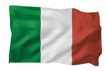 Fahne von Italien (Motiv A; mit natuerlichem Faltenwurf und realistischer Stoffstruktur)