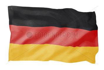 Fahne von Deutschland (Motiv B; mit natuerlichem Faltenwurf)