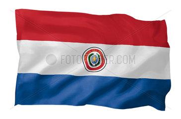 Fahne von Paraguay (Motiv A; mit natuerlichem Faltenwurf und realistischer Stoffstruktur)