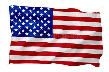 Fahne der USA (Motiv A; mit natuerlichem Faltenwurf und realistischer Stoffstruktur)