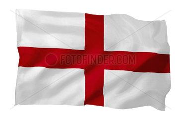 Fahne von England (Motiv A; mit natuerlichem Faltenwurf und realistischer Stoffstruktur)