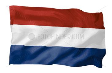 Fahne der Niederlande (Motiv A; mit natuerlichem Faltenwurf und realistischer Stoffstruktur)