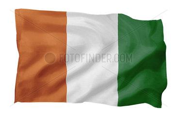 Fahne von Cote D'Ivoire (Motiv A; mit natuerlichem Faltenwurf und realistischer Stoffstruktur)