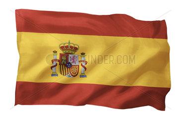 Fahne von Spanien (Motiv A; mit natuerlichem Faltenwurf und realistischer Stoffstruktur)