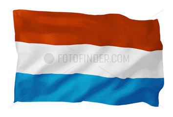 Fahne von Luxemburg (Motiv B; mit natuerlichem Faltenwurf und realistischer Stoffstruktur)