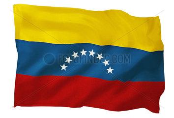 Fahne von Venezuela (Motiv B; mit natuerlichem Faltenwurf und realistischer Stoffstruktur)