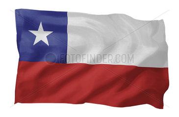 Fahne von Chile (Motiv A; mit natuerlichem Faltenwurf und realistischer Stoffstruktur)
