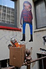 Traurig. Graffiti im Gaengeviertel  Hamburg