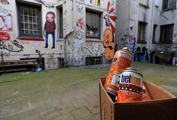 Graffiti in einem Hinterhof im Gaengeviertel  Hamburg