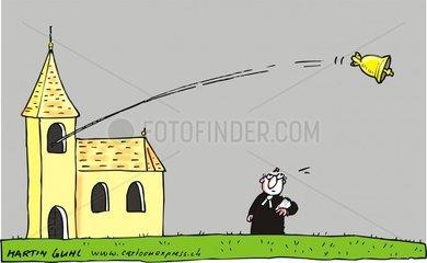 Glocken fliegen aus der Kirche