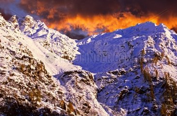 Europe  Italy  Alps at dusk