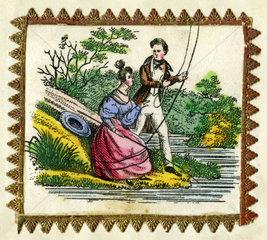 Liebespaar beim Angeln  Vignette  1847