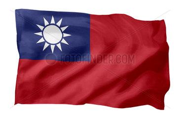 Fahne der Republik China auf Taiwan (Motiv A; mit natuerlichem Faltenwurf und realistischer Stoffstruktur)