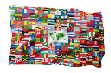 Alle Flaggen der Welt auf einer Fahne (Motiv A; mit natuerlichem Faltenwurf und realistischer Stoffstruktur)