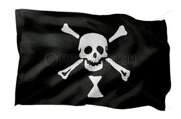 Piratenflagge (Motiv A; mit natuerlichem Faltenwurf und realistischer Stoffstruktur)