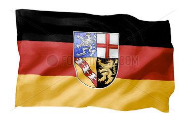 Landesfahne des Saarlandes (Motiv A; mit natuerlichem Faltenwurf und realistischer Stoffstruktur)