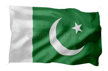 Fahne von Pakistan (Motiv A; mit natuerlichem Faltenwurf und realistischer Stoffstruktur)