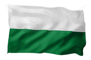 Landesfahne von Sachsen (Motiv A; mit natuerlichem Faltenwurf und realistischer Stoffstruktur)