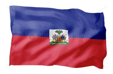 Fahne von Haiti (Motiv A; mit natuerlichem Faltenwurf und realistischer Stoffstruktur)