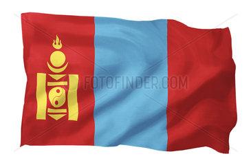 Fahne der Mongolei (Motiv A; mit natuerlichem Faltenwurf und realistischer Stoffstruktur)