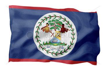 Fahne von Belize (Motiv A; mit natuerlichem Faltenwurf und realistischer Stoffstruktur)