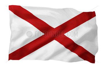 Landesfahne von Alabama USA (Motiv A; mit natuerlichem Faltenwurf und realistischer Stoffstruktur)