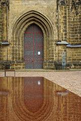 Meissner Dom  Westportal mit Spiegelung in Wasserspiel  Meissen  Sachsen  Deutschland  Europa