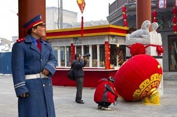 China  Beijing  Qianmen Street  lantern festival preparations