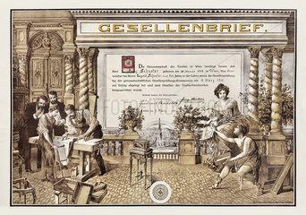 Gesellenbrief Tischler  Wien  1910