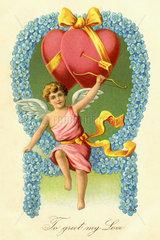 historische Valentinskarte  Liebesengel  USA  1910