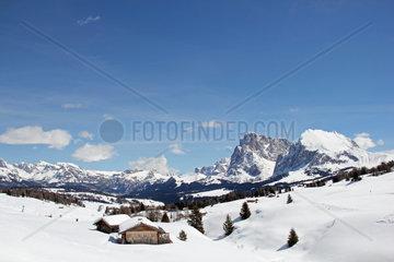 Langkofel  Plattkofel  Seiser Alm  Dolomiten  Suedtirol  Italien