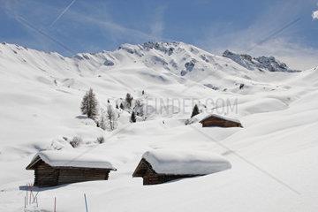 Winter auf der Seiser Alm  Dolomiten  Suedtirol  Italien