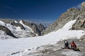 Mont Blanc Italy-France border  Gigante glacier and Vallee Blanche