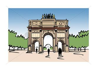 Illustration of the Arc de Carrousel in Paris  France