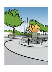 Illustration of the Flame of Liberty in Paris  France