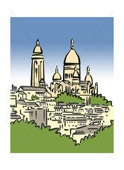Illustration of Montmartre in Paris  France