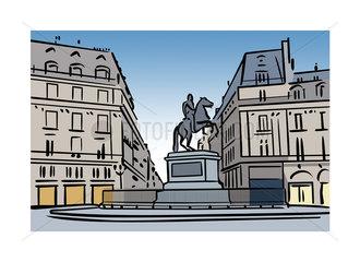 Illustration of Place des Victoires  Paris  France
