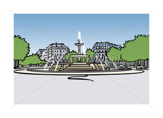 Illustration of fountain at Place Felix-Eboue in Paris  France